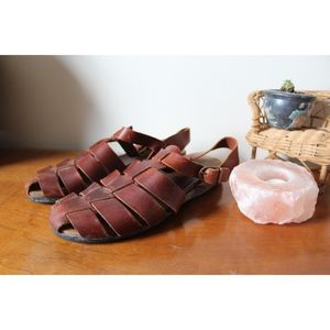 VTG 90s Boho Brown Leather Sandals